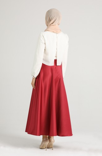 Leather Flared Skirt 1112-02 Burgundy 1112-02