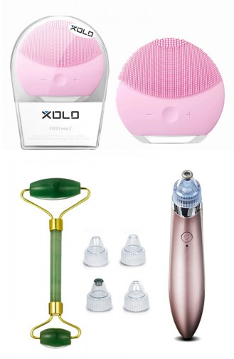 Xolo Yüz Temizleme Cihazı- 4 In 1 Vakumlu Şarjlı Yüz Temizleme - Jade Roller Yeşim Taşı SM0180 Pembe