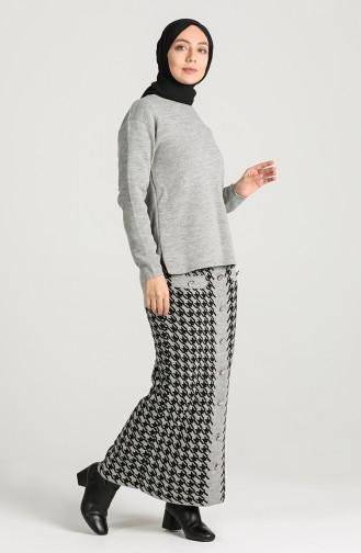 Knitwear Sweater Skirt Double Suit 7250-03 Gray 7250-03