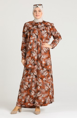 Plus Size Patterned Dress 0410-03 Tobacco 0410-03