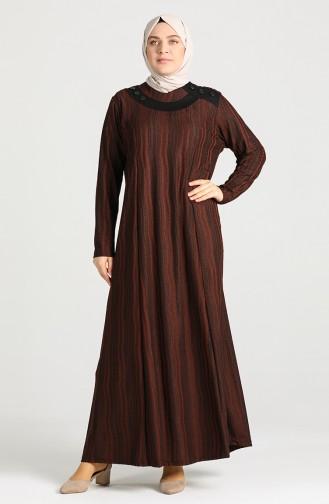 فستان قرميدي 0411-02