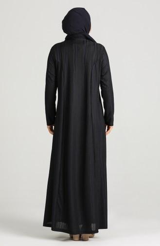 Plus Size Button Detailed Dress 0411-03 Dark Navy Blue 0411-03