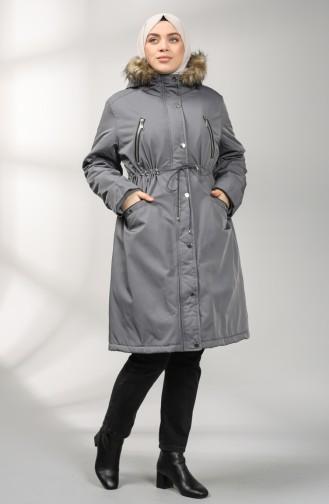 Plus Size Hooded Coat 1488-01 Gray 1488-01