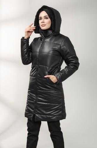 Zipper quilted Coat 1052b-03 Black 1052B-03