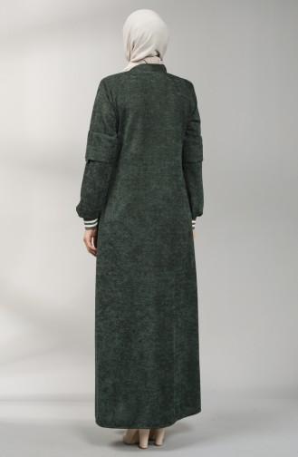 Fermuarlı Şönil Pardesü 1570-05 Koyu Yeşil