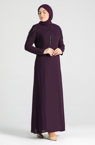 Plus Size Necklace Dress 2134-05 Purple 2134-05