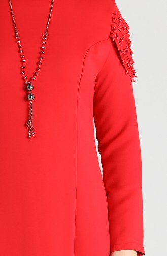Plus Size Necklace Dress 2134-08 Red 2134-09