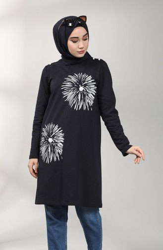Two Thread Patterned Tunic 60346-01 Navy Blue 60346-01