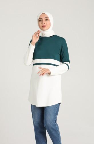 Striped Sports Tunic 8279-06 Emerald Green 8279-06