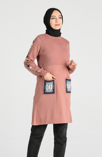 Knitwear Embroidery Tunic 9211-01 Dry Rose 9211-01