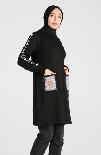 Knitwear Embroidered Tunic 9211-04 Black 9211-04