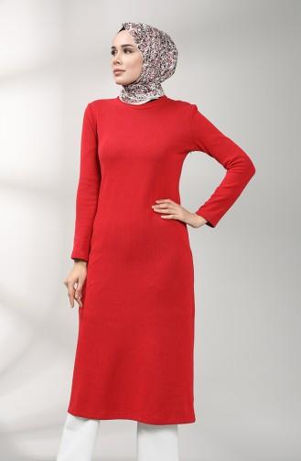Triko Uzun Tunik 2095-04 Kırmızı