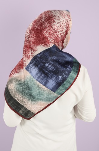 Karaca Patterned Rayon Scarf 90723-02 Claret Red Navy Blue 90723-02