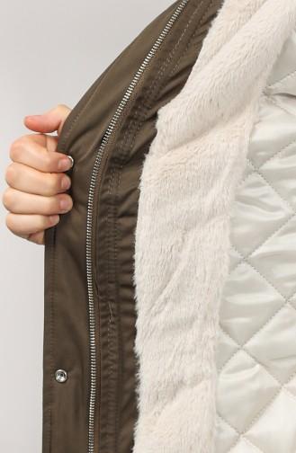Plus Size Hooded Coat 1488-02 Khaki 1488-02