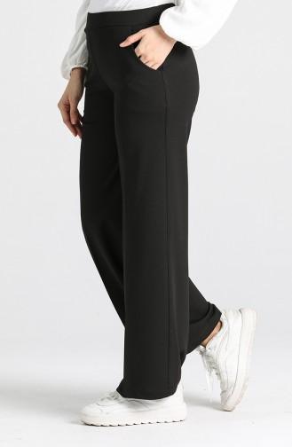 Elastic waist wide Leg Pants 3027-01 Black 3027-01
