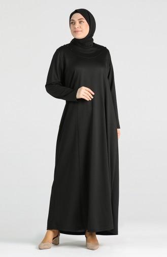 Büyük Beden Düğme Detaylı Elbise 4744-04 Siyah