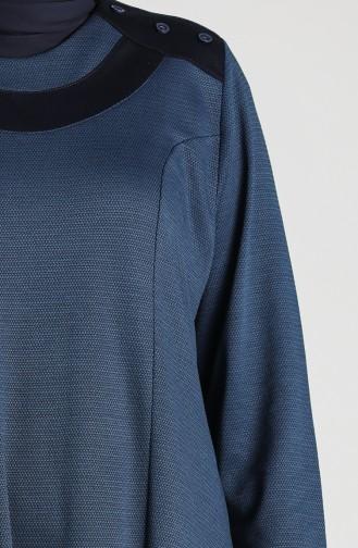 Plus Size Button Detailed Dress 4744-05 Indigo 4744-05