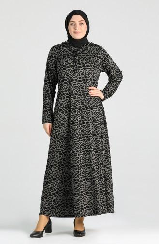 Plus Size Patterned Dress 4747-01 Black 4747-01
