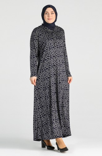 Plus Size Patterned Dress 4747-02 Navy Blue 4747-02
