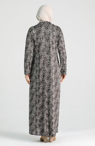 Plus Size Pattern Dress 4747a-01 Black 4747A-01
