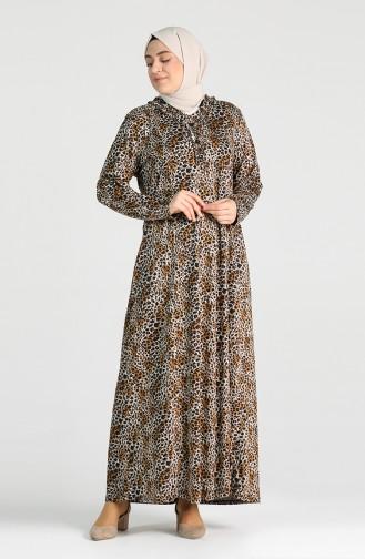 Plus Size Patterned Dress 4747A-02 Mustard 4747A-02