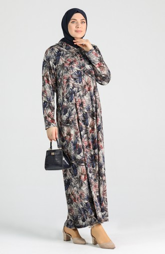 Plus Size Patterned Dress 4747b-01 Navy Blue 4747B-01