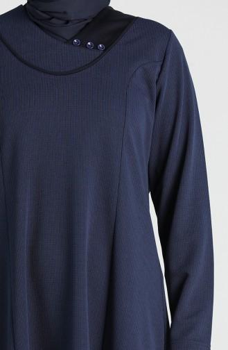 Plus Size Button Detailed Dress 4756-02 Navy Blue 4756-02