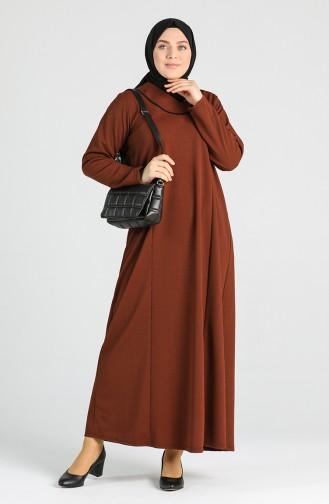 فستان أخضر تبغ 4756-04