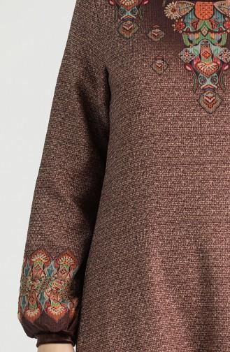Patterned Dress 20k3022700-02 Brown 20K3022700-02