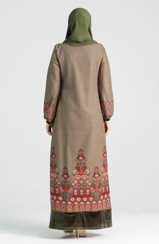 Patterned Dress 20K3022700-03 Khaki 20K3022700-03
