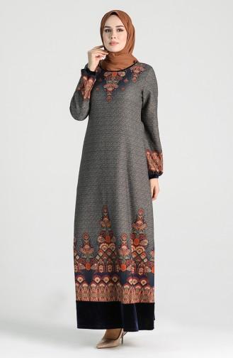 Patterned Dress 20k3022700-04 Navy Blue 20K3022700-04