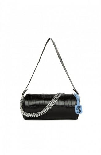 Bagmori Ribbed Mini Bag M000005292 Croco Black 8682166063314
