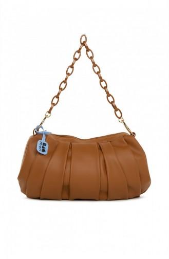 Bagmori Pleated Chain Oval Bag M000005276 Tobacco 8682166063147