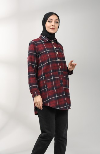 Claret red Overhemdblouse 4001-04