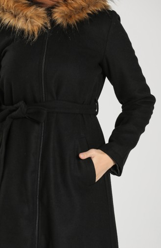 Fur Belted Stamp Coat 6867-01 Black 6867-01