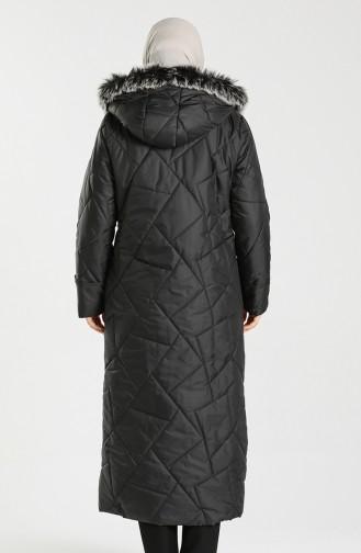 معطف طويل أسود 0635A-01