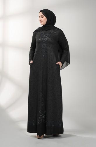 Nakışlı Elbise 20K3022102-02 Siyah