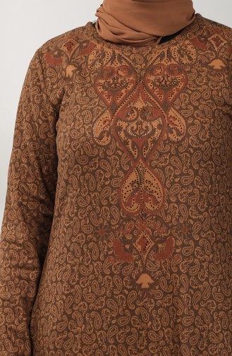 Embroidered Dress 20k3022102-03 Brown 20K3022102-03