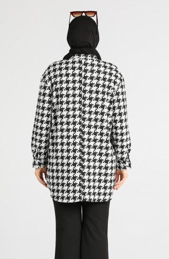 Büyük Beden Kazayağı Desenli Tunik 7116-02 Siyah Beyaz