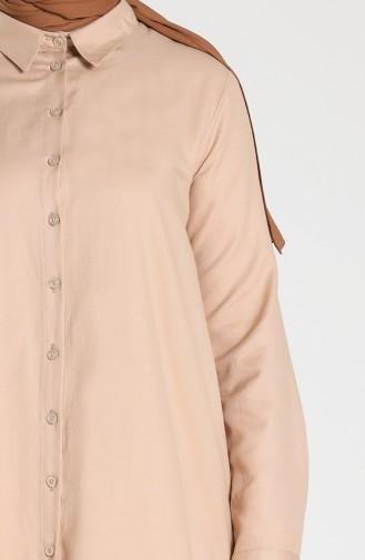 Shirt Collar Buttoned Tunic 201533-01 Beige 201533-01