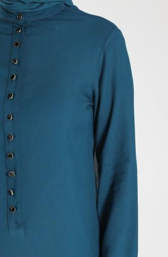 Buttoned Viscose Tunic 1810-02 Petrol 1810-02