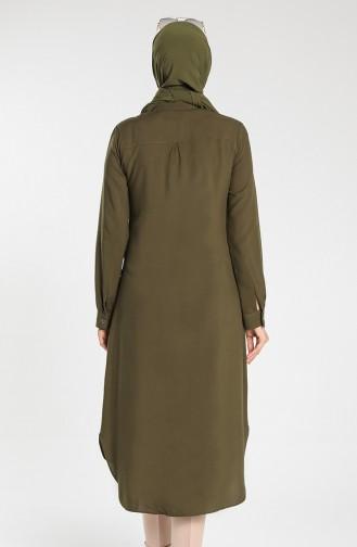 Buttoned Viscose Tunic 1810-05 Khaki 1810-05