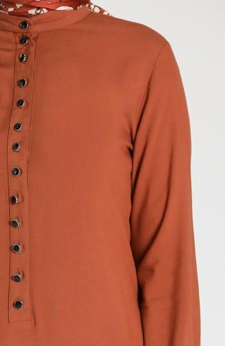 Buttoned Viscose Tunic 1810-06 Tobacco 1810-06