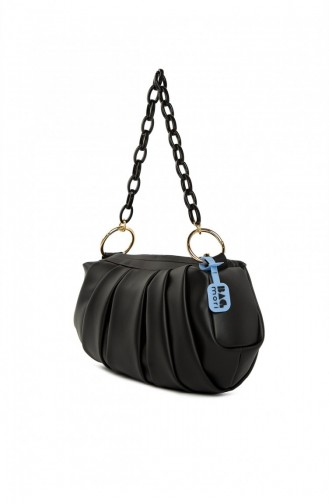 Bagmori Pleated Chained Oval Bag M000005276 Black 8682166063130