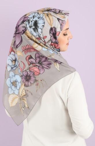Karaca Patterned Cotton Scarf 90724-03 Light Gray Purple 90724-03
