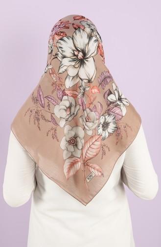 Karaca Patterned Cotton Scarf 90724-06 Light Brown Purple 90724-06