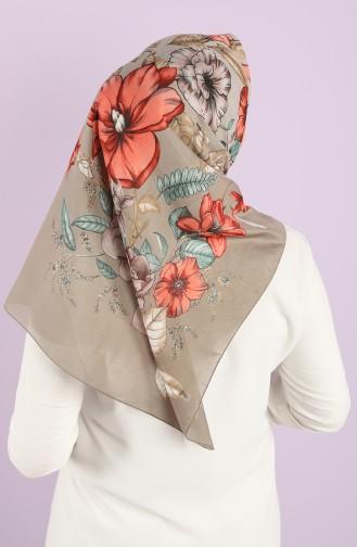 Karaca Patterned Cotton Scarf 90724-09 Water Green Pomegranate Flower 90724-09