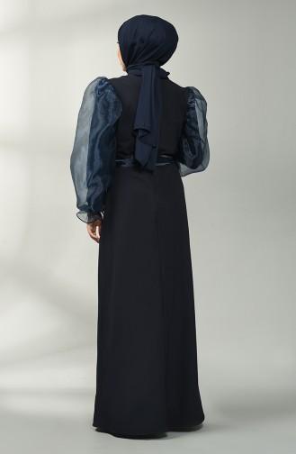 Dunkelblau Hijap Kleider 60119-08