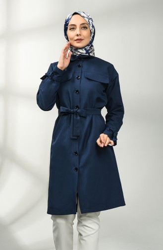 Pocket Detailed Buttoned Tunic 8009-01 Navy Blue 8009-01