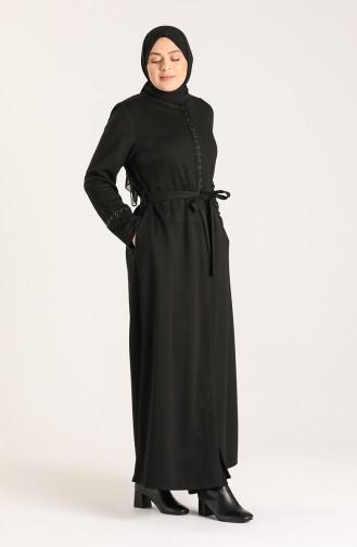 Büyük Beden İşlemeli Kuşaklı Pardesü 1569-01 Siyah